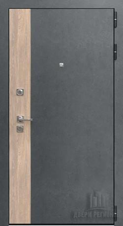 Дверь входная Бруклин Серая штукатурка + дуб Европейский красный