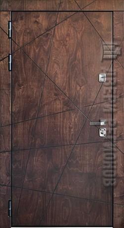 Дверь входная уличная Вегас Лиственница мореная + черная патина