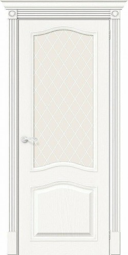 Межкомнатная дверь Вуд Классик-55 Whitey White Сrystal
