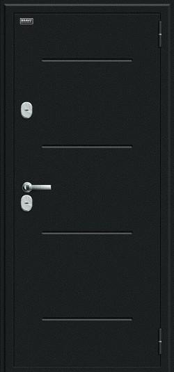 Металлическая дверь Thermo Лайн Букле черное/Wenge Veralinga