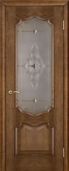Дверь межкомнатная Премьера Витраж Каштан