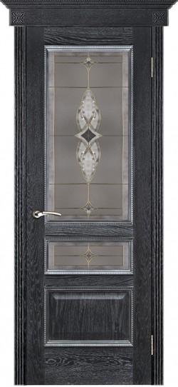 Дверь межкомнатная Вена витраж Вена Черная патина