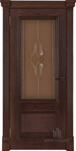 Дверь межкомнатная Корсика витраж Кармен Дуб Brandy