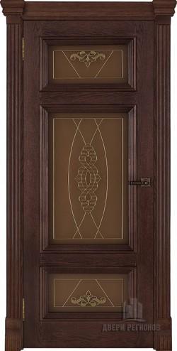 Дверь межкомнатная Мадрид витраж Мираж Дуб Brandy