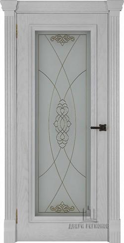 Дверь межкомнатная Тоскана витраж Мираж Дуб Perla