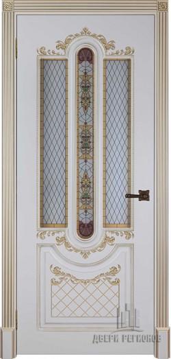 Дверь межкомнатная Александрия 2 Патина золото Эмаль слоновая кость