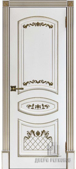 Дверь межкомнатная Алина 2 Патина золото Эмаль белая