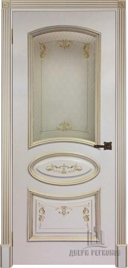 Дверь межкомнатная Багет 3 Патина золото Эмаль слоновая кость
