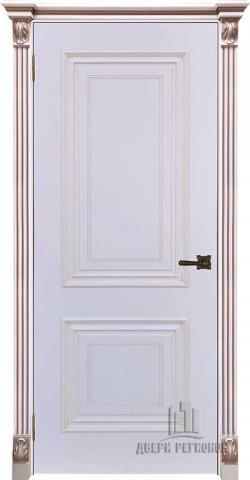 Дверь межкомнатная Багет 30 Патина капучино Эмаль белая