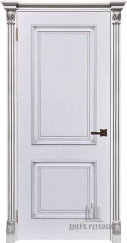 Дверь межкомнатная Багет 32 Патина серебро Эмаль белая