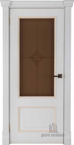 Дверь межкомнатная Гранд 1 Ромб Бронза Дуб Patina Bianco